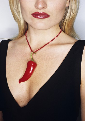 Woman wearing chilli necklace