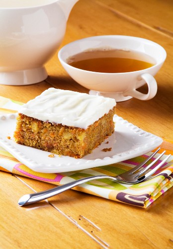 Carrot Cake with Glazing and a Cup of Tea