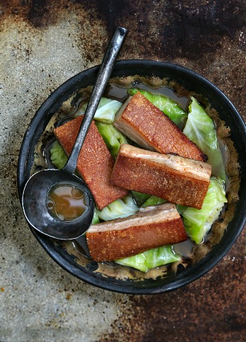 Glazed pork belly with bok choy (Asia)