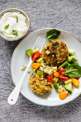 Fregola and vegetable fritters