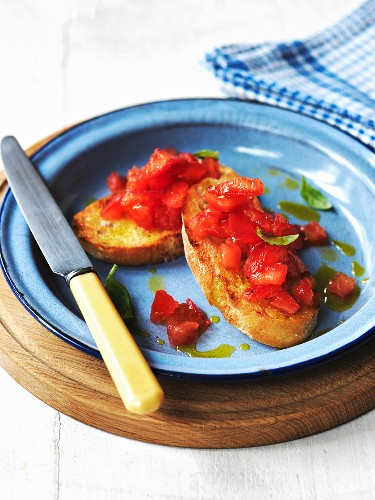 Bruschetta (toasted bread topped with cherry tomatoes, Italy)