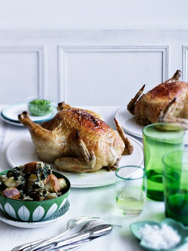Roast chicken with bread salad
