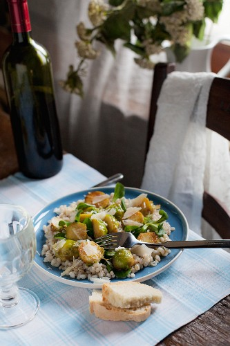 Pearl barley with Brussels sprouts, Parmesan and balsamic vinegar