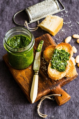 Swiss chard pesto with almonds and parmesan