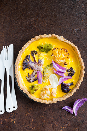 Cauliflower and Cheddar quiche