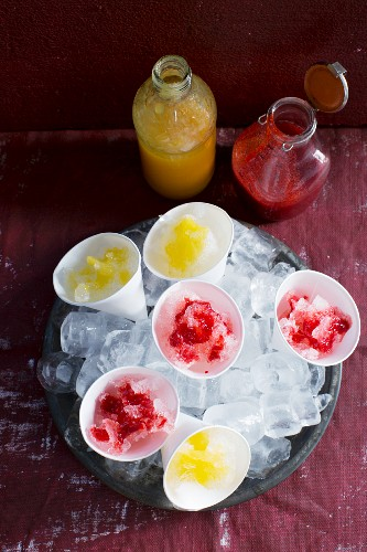 Slushie cones with berry syrup