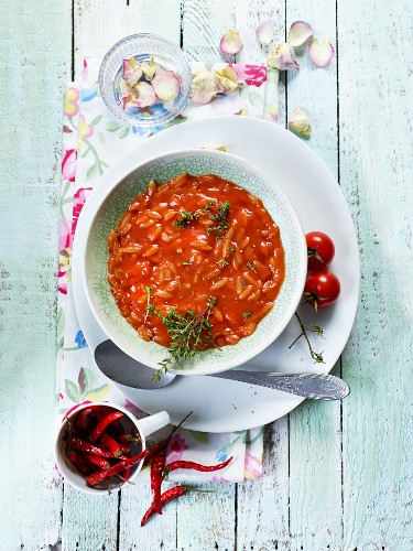 Orzo and tomato soup