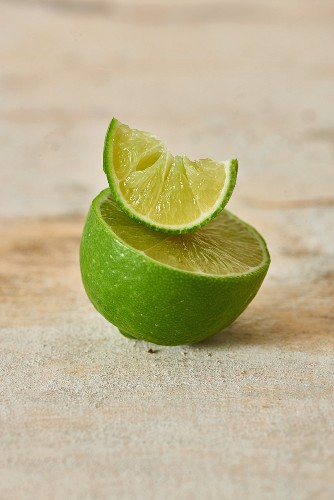 Half a lime and a small slice of lime