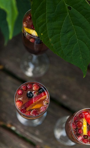View from the top of glasses with cold fruit drinks for summer