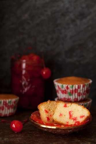 A Maraschino Cherry Cupcake, Cut Open