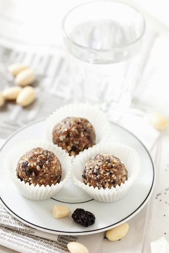 Cherry and Almond Energy Balls on a plate