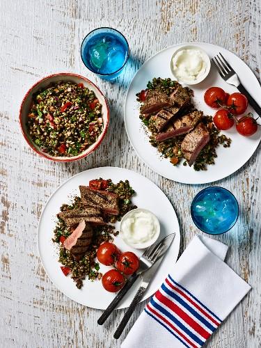 Lentil salad with lamb and toum (garlic dipping sauce, Lebanon)