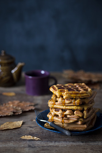 Pumpkin waffles with maple syrup