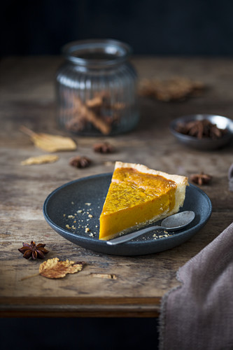 A slice of pumpkin pie