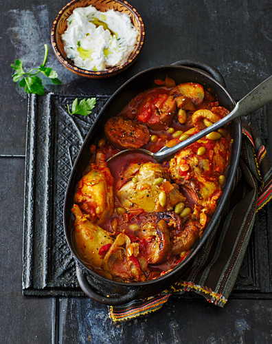 Chicken with aubergines and unripe grapes (Persia)