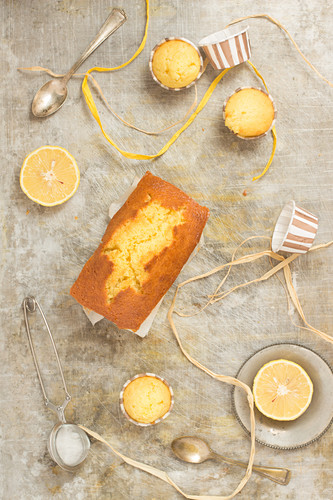 Lemon cake and muffins