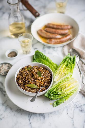 Lentil salad with sausages