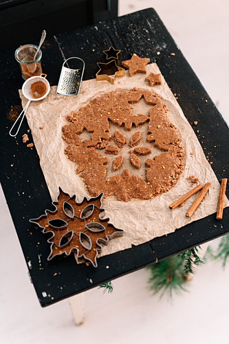 Raw vegan gingerbread with orange on baking paper