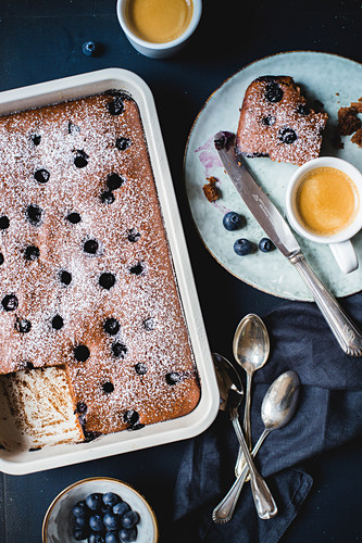 Blueberry cake with icing sugar