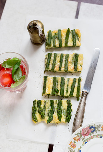 Asparagus frittata, sliced