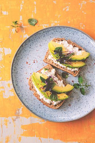 Low-Carb-Brot mit Hüttenkäse und Avocado