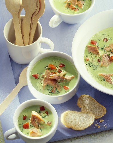 Cream of herb soup with smoked trout