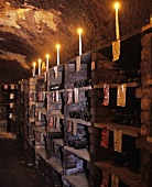 Stone shelf in Seppelt wine cellar, Victoria, Australia