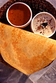 Sada dosa (ground rice flatbread, with dips, India)