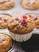 Redcurrant and vanilla muffins made with yoghurt
