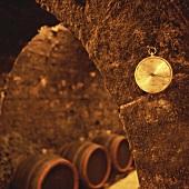 A hygrometer hanging in a wine cellar, Tokaj, Hungary