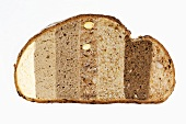 Slice of bread comprising different types of bread