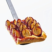 Piece of plum cake on server