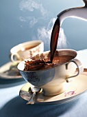 Pouring hot chocolate