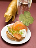 Salmon, onion and cream cheese canapé for New Years' Eve