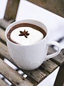 Hot chocolate with whipped cream and star anise