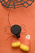 Candy corn with spider for Halloween