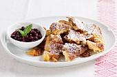 Kaiserschmarrn (shredded sugared pancake from Austria) with lingonberry jam