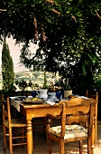 Table Setting Outdoors Overlooking Tuscany