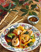 Shrimp and Vegetable Stir Fry on Wicker Tray
