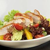 Salatteller mit Putenstreifen