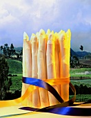 A bundle of asparagus with ribbons