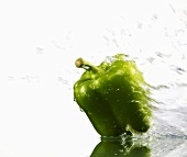 Green pepper with splashing water