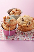 Walnut cookies and apple-raisin cookies