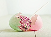 A cake pop in an Easter egg