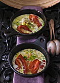 Leek soup with grilled bacon