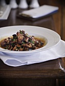 Chanterelle soup with hazelnuts