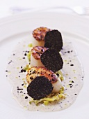 Fried scallops with black truffles