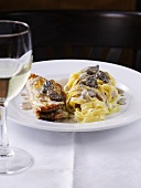 Veal and tagliatelle with morel mushroom sauce