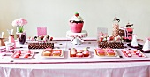 Dessert Buffet Table for a Girls Birthday Party