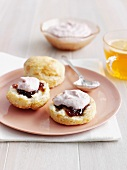 Biscuits with jam and cream cheese